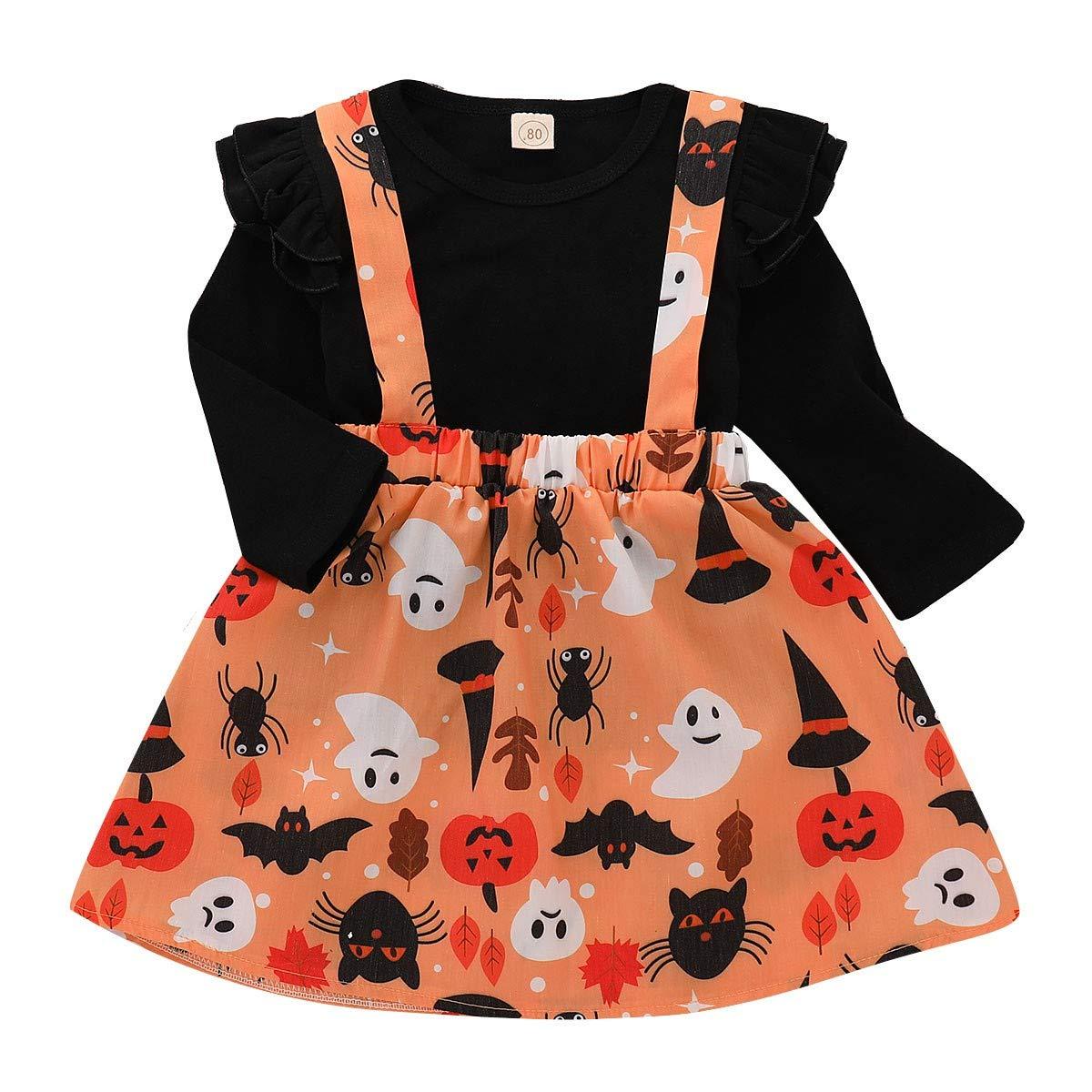 Conjuntos para Bebés Niñas Otoño Invierno 2018 Moda PAOLIAN Camisetas Manga  Largas + Falda de Tirantes Halloween Fiestas Ropa para recién Nacidos ... adad2568729c