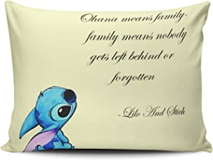 Neoqwez Pillowcase Personalized Lilo and Stitch Ohana Cushion Pillowcases Unique Home Decorative Throw Pillow Covers Cases Euro Square 26x26 es One Sided