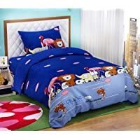 """DIVINE OVERSEAS Kid's Printed Designer Microfiber Bed Sheet with Pillow Cover (60"""" x 90"""" , Animal Carnival)"""