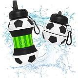 Botella Agua Silicona Diseño Fútbol y Deporte - Niños, Niñas y Adultos- Plegable - Libre de BPA - Muy Resistente - Agua Limpi