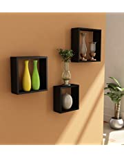 Home Sparkle Wooden Cube Wall Shelves Set of 3 Engineered Wood (Black)