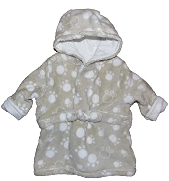 Unisex Dressing Gowns Bath Robe White or Brown Paw Print Upto 3M ...