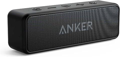 Anker SoundCore 2 Bluetooth Lautsprecher mit Dual-Treiber besserem Bass, 24h Spielzeit, 20m Reichweite, IPX5 Wasserfest mit Eingebauten Mikrofon, Kabelloser Lautsprecher für iPhone, Samsung usw.(Schwarz)