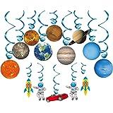 Konsait Sistema Solar decoración Colgante remolinos (14Pack), Adornos de espirales serpentinas para Infantiles Niños Bebés Ha