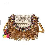 PINCHU Frauen Boho Ethnische Quaste Crossbody Tasche Bestickte Lässige Umhängetasche