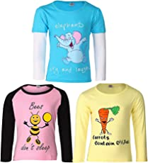 Goodway Girl'sFull Sleeve Colour T-Shirts Did You Know Theme-3 (JG3PCKFSLVCOL-DYK-3_Multicolour)