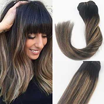 14 inch brunette balayage ombre clip in hair extensions dark brown 14 inch brunette balayage ombre clip in hair extensions dark brown mix honey blonde highlights thick real remy human hair 14 inch 120g darkest brown to pmusecretfo Choice Image