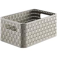 Rotho Country Boîte de rangement 6l en rotin, Plastique (PP) sans BPA, cappuccino, A5/6l (28,0 x 18,5 x 12,6 cm)