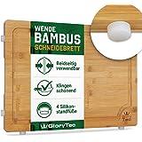 Glorytec Deska do krojenia wykonana w 100% z bambusa – antyseptyczna deska drewniana z rowkiem na sok – dwustronne zastosowan