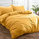 Brentfords – Parure de lit en Microfibre brossée Douce avec Housse de Couette et taie d'oreiller - Infroissable - Jaune Ocre