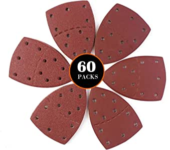 60PCS Sanding Sheets Sandpaper for Sander 10Pcs Each Assorted 40//60//80//120//180//240 Grits Mouse Sander Pads Fit Bosch Multi-Sander PSM 100A//PSM 200 AES//PSM 18 and All Oscillating Multi-Tool