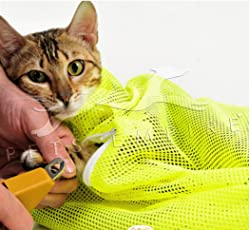 Pets Empire et Cat Grooming Washing Bath Bag, Scratching Biting Restraint Polyester Mesh Bag for Shower, Cleaning Ear, Cutting Nails, Medicine Feeding (Fluorescent Green)