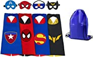 Yalla Baby Superheros Capes & Masks with Super Hero Logo Dress Up for Kids 3-12 Years - New Styles