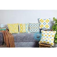 STITCHNEST Canvas Cotton 180 TC Cushion Cover, 12 x 12 Inch, Multicolour, 5 Pieces