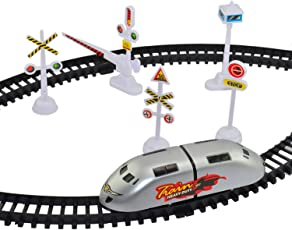 Days Off High Speed Metro Train with Track & Sign Boards Accessories Battery Operated, Set for Kids