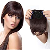 D-DIVINE Front Hair Bang Fringe For Women And Girls, Front Extension Hair Clips, 20 Gram, Pack Of 1 (Brown)