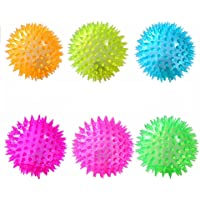 Pet Needs Led Light-Up Spike Squeaky Bouncy Ball For Fetch, Sound Interaction And Play For Puppy-Small Multi-Colored (Set Of 6)