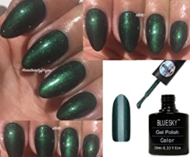 BLUESKY 80541 Pretty Poison Dark Grün-schimmernden Glanz Nagellack-Gel UV-LED Soak Off 10 ml plus 2 homebeautyforyou Shine Tücher