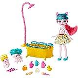 Enchantimals GJX36 – zestaw do zabawy w kąpieli z lalką Petya Pig, 2 figurki dla prosiąt (1 z nich z funkcją zmiany koloru) i