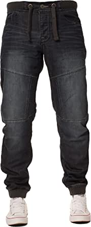 Enzo New Mens Cuffed Denim Joggers Jeans Black Fashion All Big King Sizes