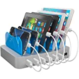 Hercules Tuff Charging Station | 6 Ports | Phone Dock Stand | Compatible Samsung, iPhone, Ipad | Cables Included (Silver…