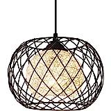 Lampe à Suspension Rétro en Métal Noir Cage E27 Suspension Industrielle,Lustre LED Moderne Simple Cuisine Salon Suspension Lu