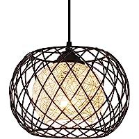 Lampe à Suspension Rétro en Métal Noir Cage E27 Suspension Industrielle,Lustre LED Moderne Simple Cuisine Salon…