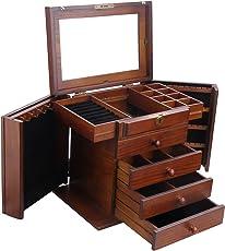 ROWLING Schmuckkasten Hart Holz Schmuckkoffer Schmuckkästchen Schmuckschatulle groß