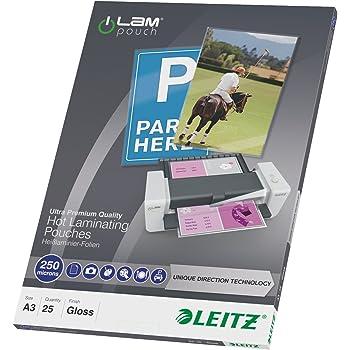 Leitz Pochettes de plastification à chaud, Brillantes, Transparentes, A3, UDT, 250 microns d'épaisseur, Paquet de 25, 74910000