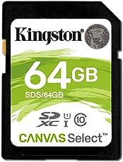 Kingston SD SDS/64GB Canvas Select Scheda SD, Velocità UHS-I di Classe 10 fino a 80MB/s in Lettura, 64 GB