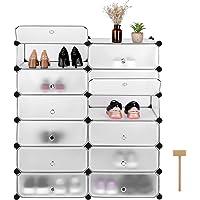 Homfa Shoe Rack Storage Cabinet Display Shelves DIY 12 Cubes Clothes Organizer Plastic Wardrobe with Doors Matte White 45 * 35 * 17cm