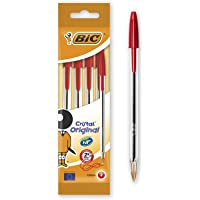 BIC Cristal Original Ballpoint Pens Medium Point (1.0 mm) – Red, Pouch of 4