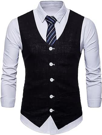 Bestgift Men Slim Vest Solid Color Lapel