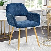 Queen Anne Casa Fauteuil Chaise de Salle à Manger Scandinave en Tissu Bleu Métal Look Bois Chêne Design Salon Bureau Chambre