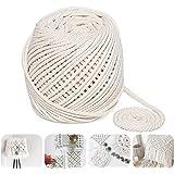 Anstore Macrame koord, 4 mm x 100 m Twisted Soft Unstained katoenen touw voor handgemaakte plantenhanger, wandopknoping ambac