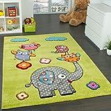 Paco Home Tapis Chambre d'enfant Adorable Monde Animal Eléphant Vert Bleu Gris Rouge, Dimension:120x170 cm