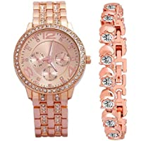 Zuperia Diamond Studded Analogue Watch with Rose Gold Dot Bracelet