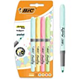 Bic Highlighter Grip Pens - Assorted Pastel Colours, Pack of 4