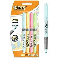 BIC Highlighter Grip Penne Evidenziatore Pastello Con Punta A Scalpello Modulare - Colori Assortiti, Confezione Da 4