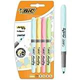 BIC Highlighter Grip Pastel Surligneurs Pointe Biseautée - Couleurs Assorties, Blister de 4
