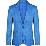 YOUTHUP Mens Check Blazer Slim Fit 1 Button Casual Business Suit Jacket Formal Blazers