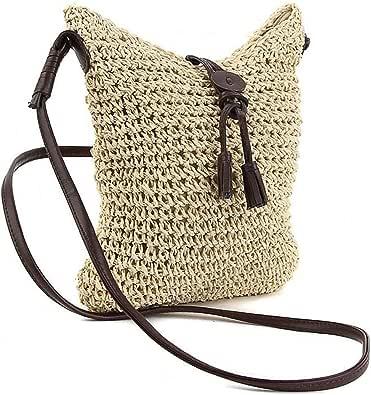 BESTZY Stroh Crossbody Tasche Strohtasche korbtasche Frau Weben Schulter Tasche neue Retro Sommer Strandtasche Zuhause Aufbewahrungstasche(Milchig weiß)