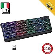 KLIM™ Chroma Tastiera Wireless Italiana - Sottile, Resistente, Ergonomica + Tastiera Gaming Retroilluminata Silenziosa e Impe