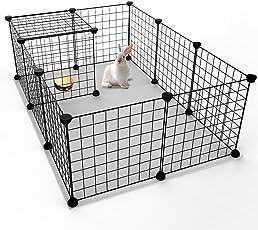 Koossy Stahlgitter DIY Freigehege erweiterbarer Laufstall Welpenauslauf für Kleintiere Wie Hase, Kaninchen, Meerschweinchen, Katze und Welpe