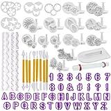 TIMESETL 108pcs outils de décoration de gâteau, moules de caractères alphanumériques de fleur rose définis pour fondant, sucr