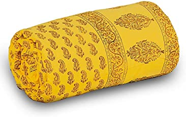 Little India Rajasthani Designer Paisley Cotton Single Bed Comforter - Yellow