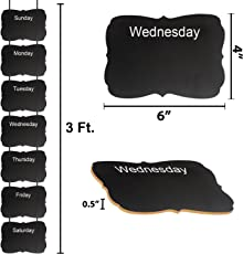 Party Propz Monday to Sunday Chalkboard Wooden Wall Hanging for Kitchen Help, Kids Timetable Maintenance