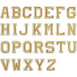 Jinlaili 52 Pezzi Patch Lettere, Patch Lettere Termoadesive, Dorate Toppe Applique con Alfabeto A-Z, Lettere Ricamate in Tess