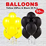 WoW Party Studio™ Construction Theme Birthday Party Latex Yellow & Black Balloons for Decoration - 50Pcs