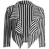 66 Fashion District Womens Black & White Striped Waterfall Short Blazer Jacket Coat
